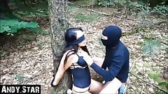 Tied up in the woods and used