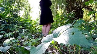 I take off my panties and pee powerfully outdoors