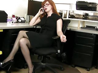 Girl redhead stocking Redhead boss in the office