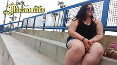 2 candid SSBBW friend with shorts (Huge Thighs)