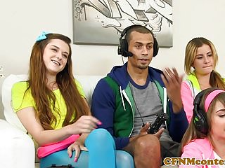 Fun sex gamers Cfnm gamer babes sharing the one hard cock
