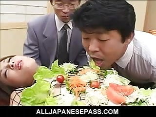 Quick thrill for horny gay guy - Japanese av model turned into an edible table for horny guys