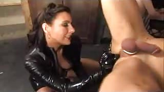 Submissive tied up male slave fucked and tortured