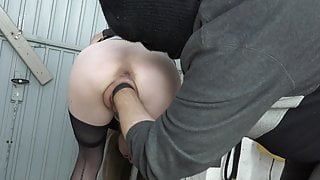 Big pussy fisted in handcuffs