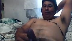 Hot latino stroking hard