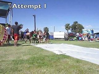 Girl loses spanked Dumb girl loses bikini on water slide at coachella