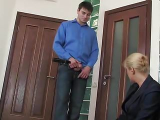 Mature office woman - Guy seduces a mature woman in the office