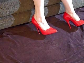 Patent fetish - Red patent stiletto shoe job 01