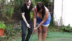 Busty plumper gets pounded by golf coach