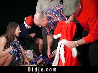 Santa sexual harrassment - 8 pervert old men gangbang sexy santa girl