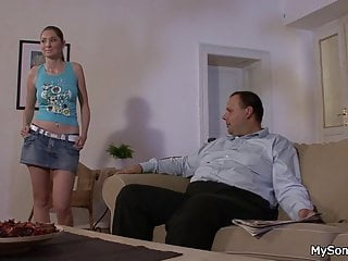 Teen smart - Smart granpa tricks her swallows his cock