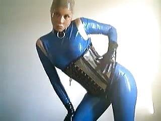 Blue latex blonde stairs Blue latex doll