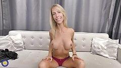 Naughty MILF feeding her hungry pussy