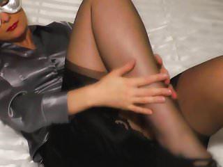Homemade stockings on milfs Satin blouse secretary in 10 denier stockings