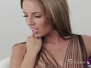 Rigid restraint bondage Strapon hot blonde in restraints and fucked by cute brunette