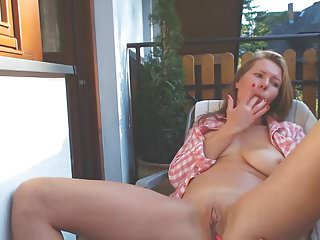 Naked touching herself Milf touching herself in the balcony