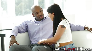 Gina Valentina tastes a big black cock for the first time
