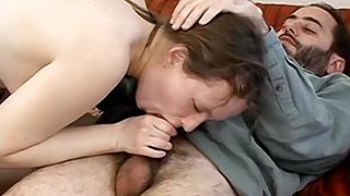 Hairy schoolgirl sucks and fucks her teacher