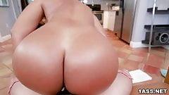 Big ass Rose Monroe rides dick after sucking it