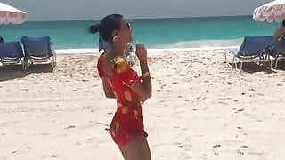 Victoria Justice dancing on the beach