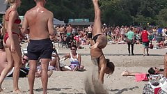 Cheerleaders Spread Legs on Beach