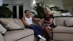 Mature blonde lady fucked on sofa
