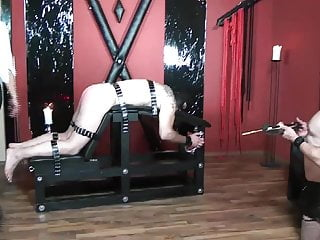 Bdsm whipping bench - Femdom little spanking slave tied up on spanking bench