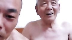 asian young man and grandpa livestream 1