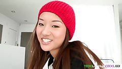 Asian teen facialized by big cock