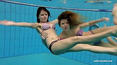 Katka and Kristy underwater swimming babes