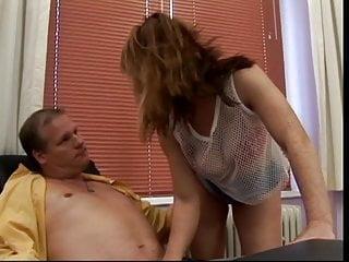 Fat office porn - Slutty chick sucks fat mans cock in office