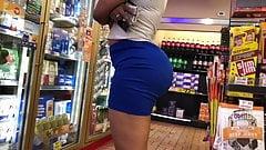 Blonde woman in blue short