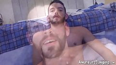 Real amateur strokes his big dick and fucks various sex toys