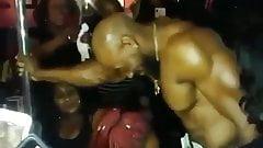 Ebony bride to be sucking stripper bbc