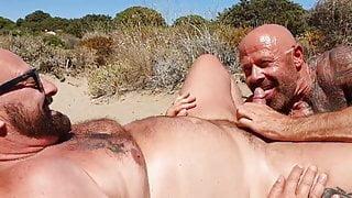 Two hot sexy bears beachSucking