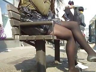 Teens in nylon stockings Two swedish girls in nylon waiting for the tram