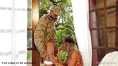 Shemale girlfriend gets soldier husband home