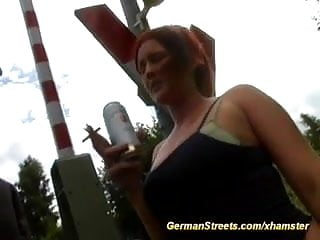 Busty pickup Pickup busty redhead german for gangbang in nature