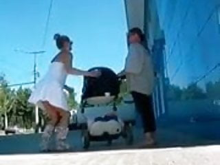 Thongs and heels asses Upskirt - a young mother in a thong