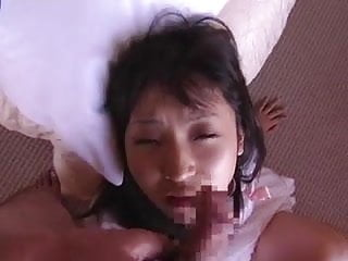 Facial hair folicles clog Japanese doll gets an eye clogged in thick cum
