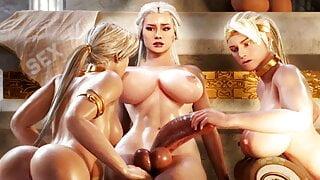 Tranny MILF fucks two Slave-Girls, 3D Futa Trans Animated TS