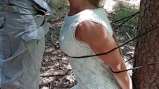 Belgian milf tied up in woods, deepthroat,  swallows