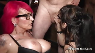 Bukkake Party with two hot Milfs