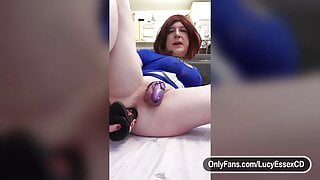 Sissly Lucy in chastity riding huge 12 inch big black dildo