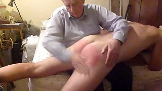 Master spanks my buttocks and legs then wanks me