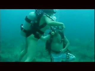 Underwater asian woman scuba Scuba threesome pt.1