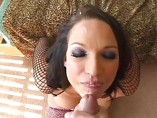Buckets of cum on her face She looks amazing with lots of cum on her face