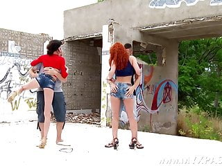 Paperazzi pictures upskirt French redhead gets fucked during her friend takes pictures