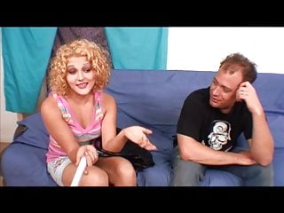 Teen models blonde curly short hair Hot blonde with curly hair blows guy and gets pounded on blue couch