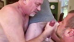 Two Daddies Suck BWC: BJ-BALLS LICKING-HJ-CUM- SNOWBALLING
